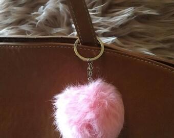 Baby Pink Pom Pom Keychain