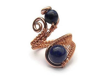 Wire wrapped ring with Blue Sunstone beads
