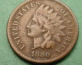 1880 Indian Head Cent   Very Fine FREE Shipping In United States # ET307