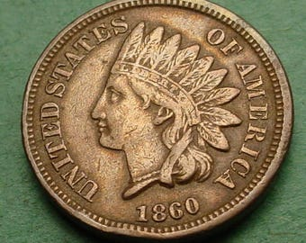 1860 Indian Head Cent   Fine  FREE Shipping In United States # ET263
