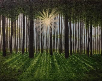 Light through trees oil painting
