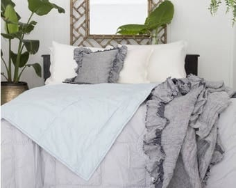 Flora acqua + grey reversible king size quilt