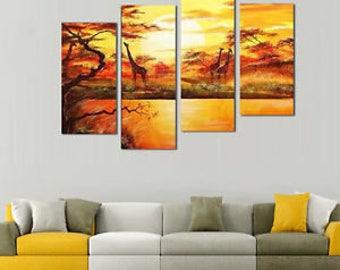 African Forest Sunset Giraffe Animal Multi Panel Art | Canvas Oil Painting | 5 Piece