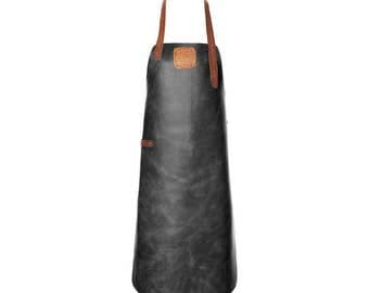 Leather Apron | BBQ Apron | Kitchen Apron | Black/Cognac