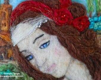 Wool Painting, Needle Felted Art, Renaissance inspired portrait, Wall Art, Felt Painting, Gift for Her, Home Decor, Needle Felting