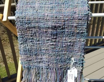 Blue Gray Multi Colored Nubby Wool Woven Scarf
