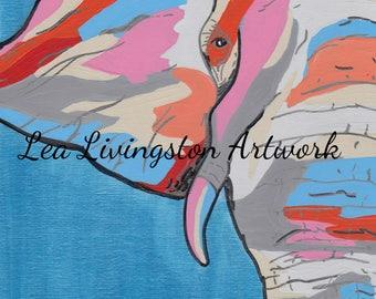 Acrylic painting - Elephant - Zoo Animals - Photo - Prints - Canvas