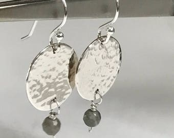 Sterling Silver Disk Earrings with Labradorite Gemstone and Hammered Finish