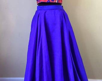 Navy blue lehanga with red crop top with thread work and sequence work