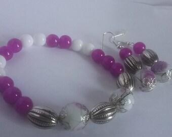 Fuchsia, white and silver bracelet & earring set