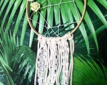 SALE: Dreamcatcher Bohemian romantic, lace and pink white - free shipping