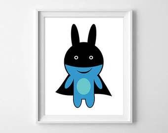 Rabbit superhero illustration, children, baby gift, baby room decoration shower, baptism, birthday child