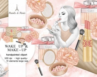 Make up Clipart Fashion Clipart Perfume Clipart Fashion Illustration Lipstick Brush bag Watercolor Clip Art Pink Peony Planner Supplies