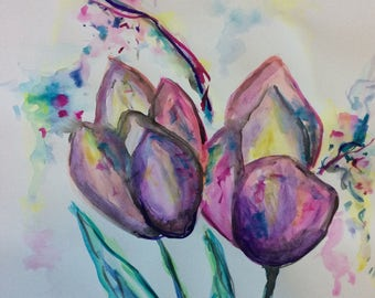 Watercolor Tulip Painting