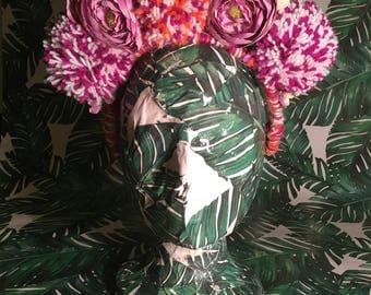 Pom Pom & Floral Festival Headpiece