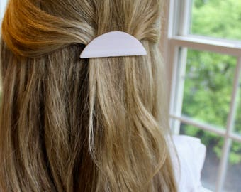 Rosy Minimalist Half-Circle Glass Hair Clip