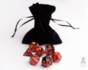 Standard Polyhedral Set of Dice | 7 DnD Dice Set For RGP Game Play | Crimson Midnight (KD0003)