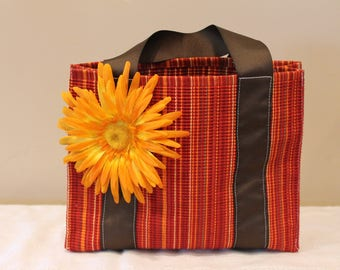 Girl's Red Tote Bag with Orange Flower