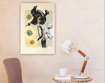 FREE shipping ORIGINAL Abstract Painting Floral Painting Art Painting Blue Wall Hanging Wall Art Modern Art  Wall Decor Unique Art