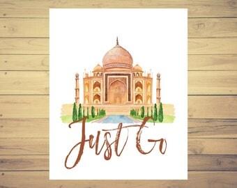 India Art Taj Mahal Travel Poster, World Landmarks, Travel Art, World Travel, 8x10 Print, Adventure Print, Wanderlust Art, Watercolor Art