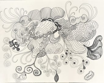 Clouds pen and ink drawing
