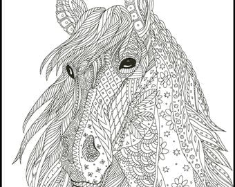 Horse Coloring Page for Adults Adult Coloring Pages