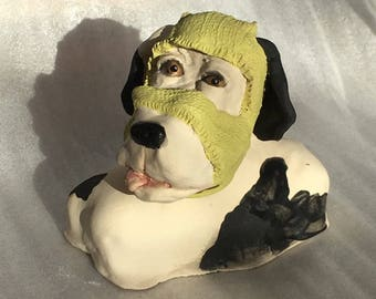 Here's Tyndall a stoneware ceramic handmade cute whimsical dog by Jacquie Cross