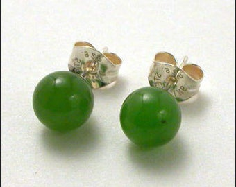 Jade 6mm Round Studs Earrings - Sterling Silver