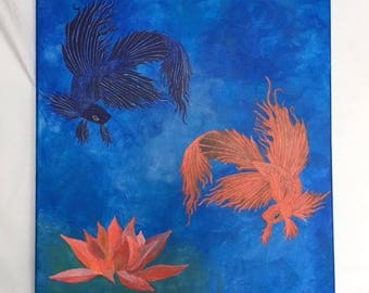 Acrylic Painting, Betta Fish, Gallery Wrapped Canvas, Original Acrylic Painting, Ready To Hang