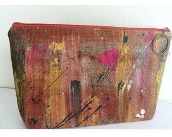 Hand painted burlap canvas pouch. Unique piece.