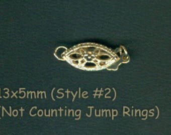 14k Solid Yellow Gold Filigree Pearl Clasp 13x5mm (Not counting the jump rings) #2