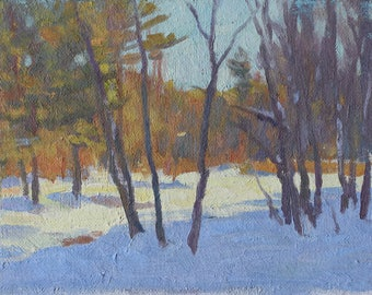 Original 6x8 Oil Painting Winter Pusher Back New England Winter Scene Early Winter Fall-Winter NE NH Original Landscape Painting Original NH