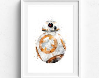 Star Wars Prints, BB-8 Prints, Droid, Movie Poster, Printable, Watercolor Painting, Kids Decor, Nursery Decor, Baby Shower Decor, Boys Gifts