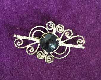 Vintage Brooch Silver Tone Swirls with Black Cabochon