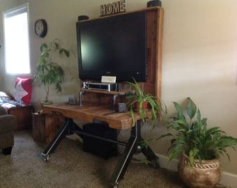 Hand Crafted Rustic Reclaimed Wood Industrial Entertainment TV Stand