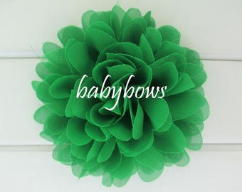 2 Green Big Flower Baby Girl Flower Hair Clips 1 Pair