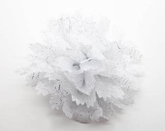 2 White Sparkle Flower Baby Girl Flower Hair Clips Brooches
