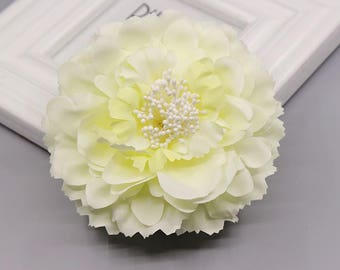 2 Cream Light Yellow Peony Big Flower Hair Clips Brooches 10cm
