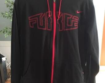 Vintage Nike Force Mens Black & Red Full Zip Hoodie Sweatshirt size Large