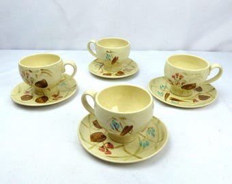 Red Wing Pottery Random Harvest Cups and Saucers Set of 4