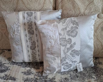 Pair pillow shabby, Lot of 2 romantic cushion covers, tissue French creator + mattress vintage fabric