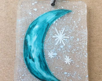 Shrink plastic moon necklace