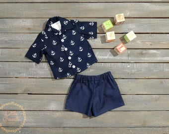 6-9 Month Boys Anchor Button up Shirt and Shorts Set