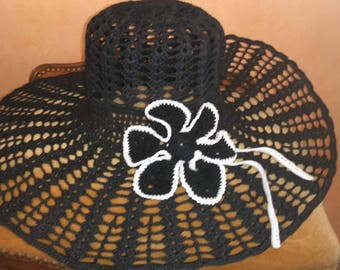 SALE 30%! Code: SOLDESCNS. Chic and elegant black color cotton Hat crochet.