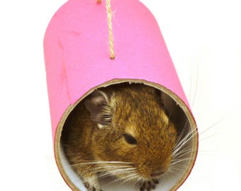 Chewchewbs (Pink) - Small pet toy, degu, rat, gerbil, hamster tube.