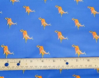 Royal Blue with Orange Birds, Polyester Mix Fabric, Vintage, Fabric #1014