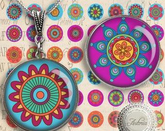 Mandalas - Digital Collage Sheet - Printable Download - Best for jewelry pendants, bottle caps - Instant Download