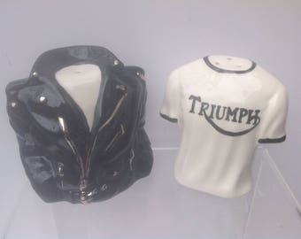 Motorbike jacket and t shirt salt and pepper shaker set.
