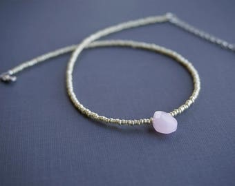 Minimalist Pink Faceted Teardrop, European Gold Beaded Choker Necklace