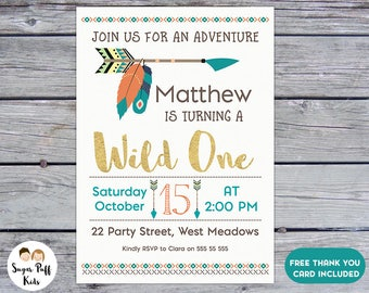 Wild One Arrow And Feathers 1st Birthday Invitation For Boy, Boys Wild One 1st Birthday Invitation, Boys Wild One Birthday Invitation,